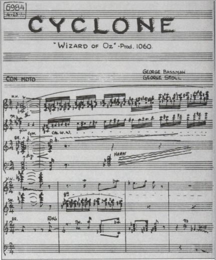 "Page of the ""Cyclone"" cue from THE WIZARD OF OZ"